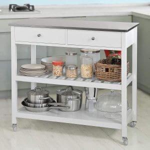 La desserte roulante chariot de cuisine deux étages avec grand plan de travail SoBuy